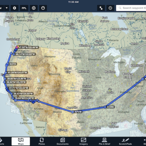 Flight path across the USA